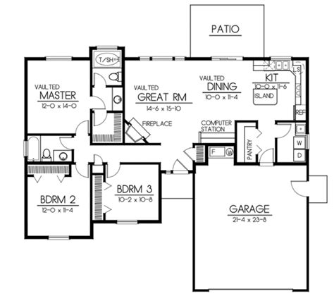 3 bedroom 2 bath 2 car garage floor plans bungalow style house plan 3 beds 2 baths 1437 sq ft plan