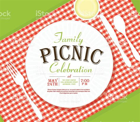 picnic invitation design template angle placesetting stock