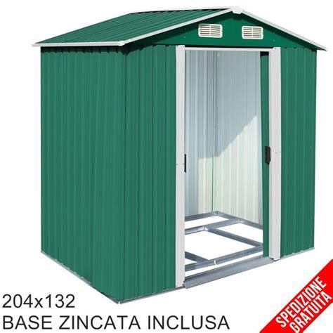 casetta per attrezzi da giardino casetta porta attrezzi da giardino in lamiera verde 204x132