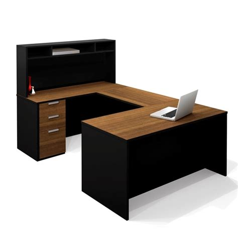 U Shaped Desks With Hutch Black U Shaped Bestar Office Desk With Hutch