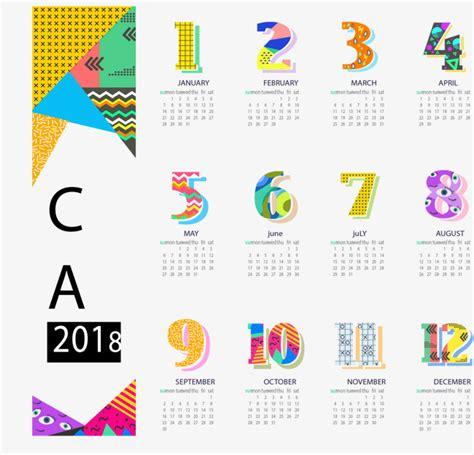 illustrator monthly calendar template 2018 abstract pattern 2018 calendar template vector material