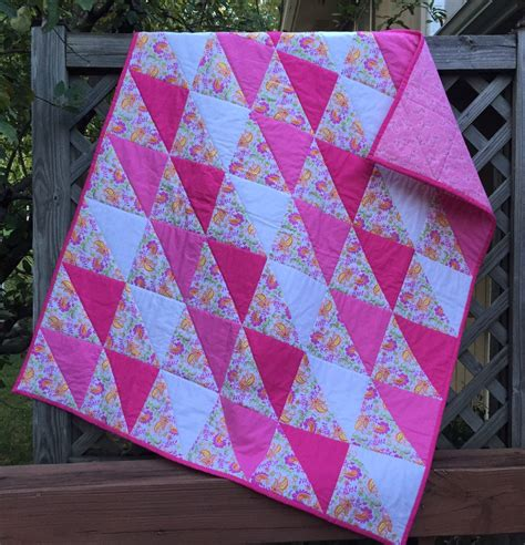 Patchwork Quilts For - modern quilt hst patchwork quilt pink quilt by