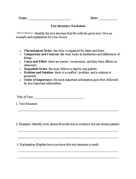pattern of organization exercises the 25 best text structure worksheets ideas on pinterest