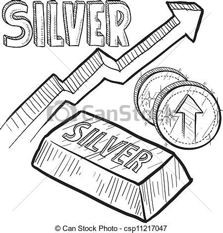 silver price increase sketch. doodle style silver precious