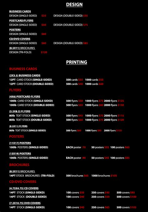 list of designers graphic design price list pdf localadz