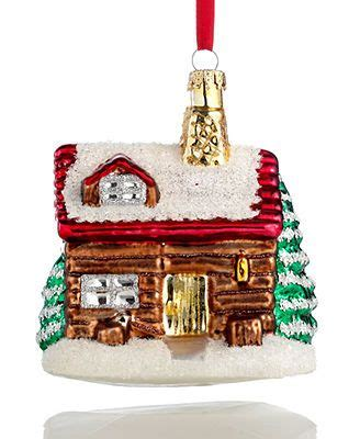 holiday lane glass log cabin christmas ornament