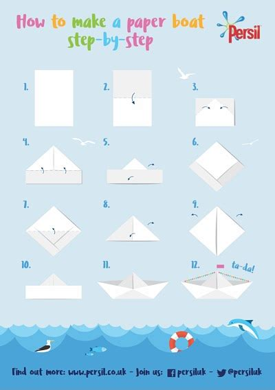 How To Fold A Boat Out Of Paper - how to make a paper boat step by step persil