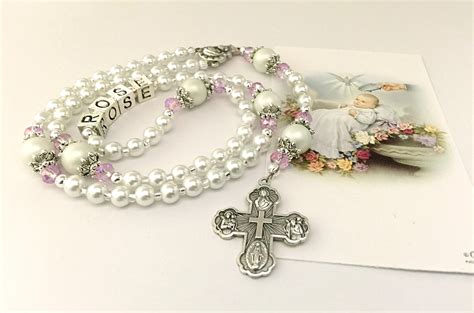baby rosary baptism rosary baby rosary white and pink rosary