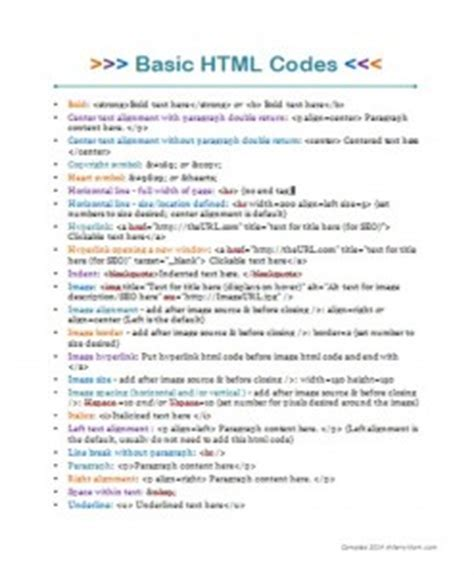 printable list of html codes learning basic html for blogging with free printable