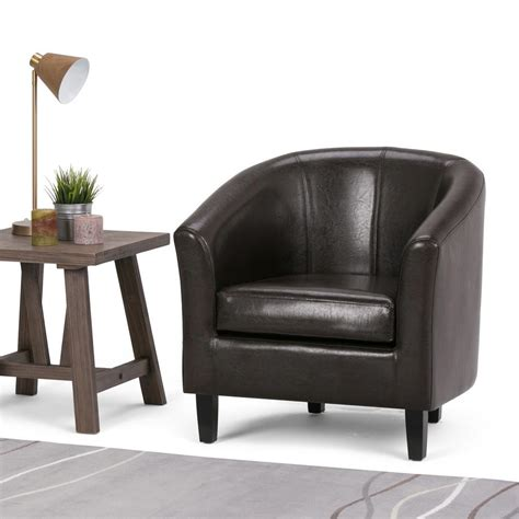 simpli home austin espresso faux leather arm chair axctub   home depot