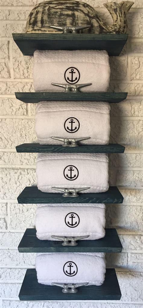 Nautical bathroom decor coastal towel rack with dock cleats blue finish