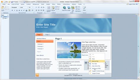 web layout on word artisteer automated web designer