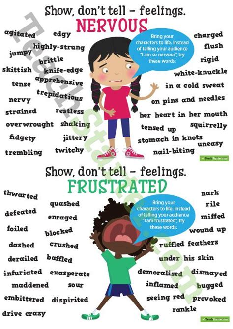 Sho Bsy Noni show don t tell feelings synonyms poster pack teaching