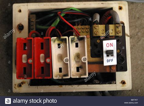 electric fuse wire style consumer unit electrical wire fuse box stock