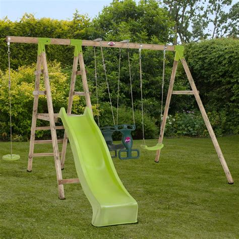 wooden slide and swing set uk muriqui wooden swing set with slide plum play