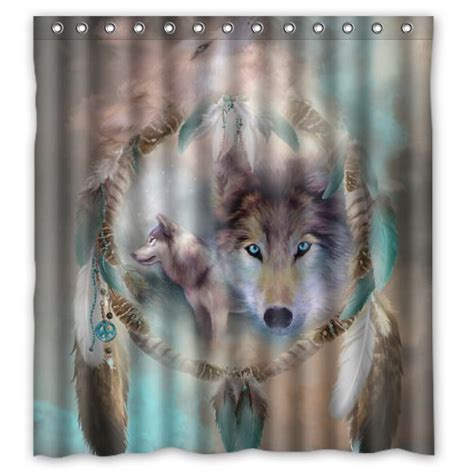 wolf shower curtain buy best cool wolf dream catcher style polyester fabric