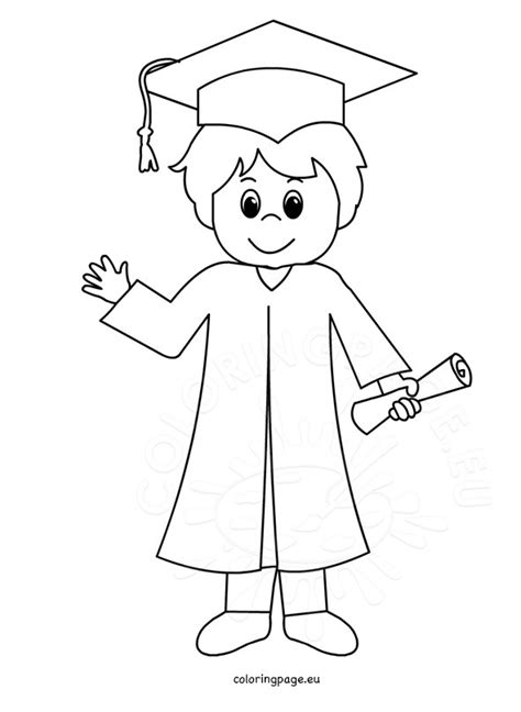 coloring pages for kindergarten graduation smiling graduation boy coloring page