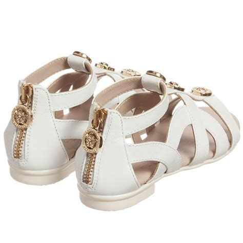 white and gold sandals versace white gold stud gladiator sandals