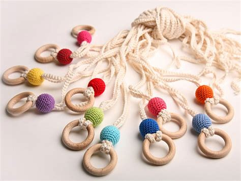 Handmade Baby Toys - wear a handmade teething necklace to soothe your baby