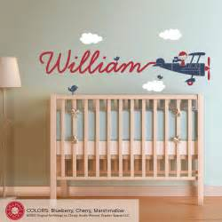 Boys Wall Sticker Airplane Name Wall Decal Boy Skywriter Travel Theme