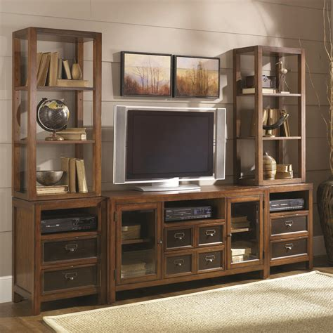 entertainment shelving units hammary mercantile six drawer two door entertainment wall
