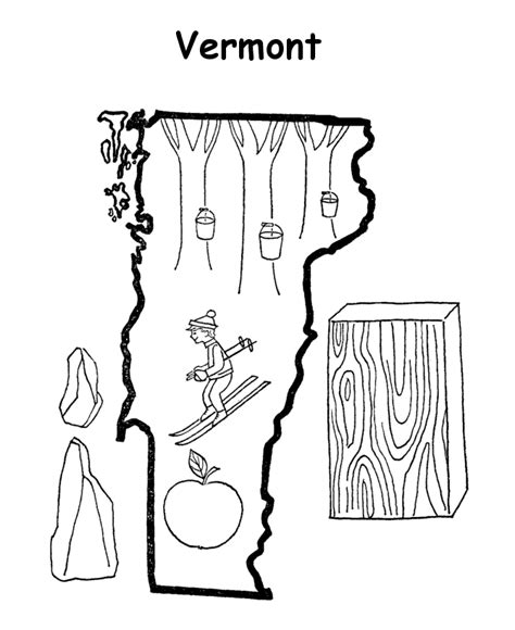 vermont map coloring page usa printables state outline shape and demographic map
