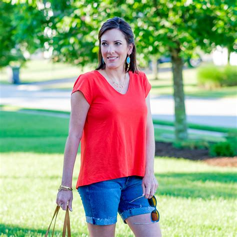 orange swing top orange swing top denim shorts outfit