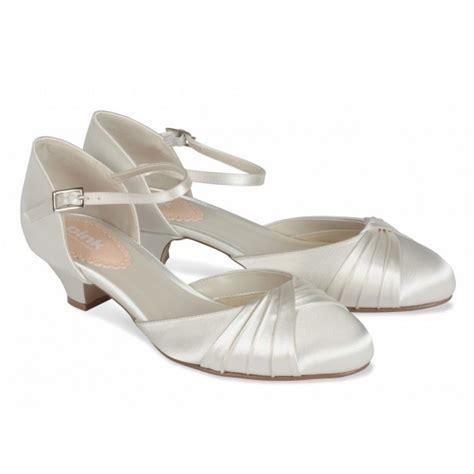Wedding Shoes Low Heel Ivory by Pink Paradox Protea Dyeable Ivory Satin Low Heel Wedding