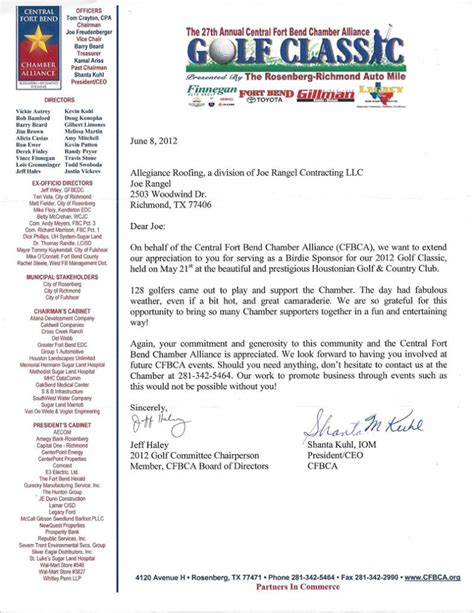 sponsorship letter for charity golf tournament sle sponsorship letter for charity golf tournament 28