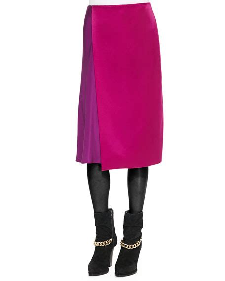 Two Side Draped Skirt 3 1 phillip lim two tone draped midi skirt