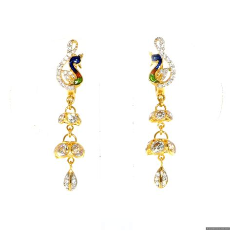 22ct indian gold drop peacock earrings 163 298 09