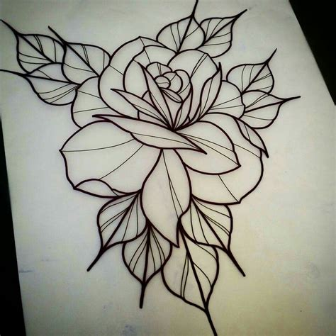 outline rose tattoos traditional flower outline www pixshark