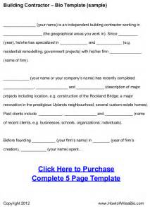 How To Write A Personal Biography Template by Building Contractor