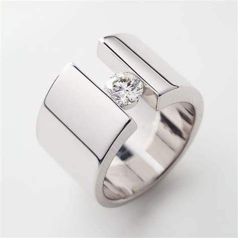 modern engagement ring design with white unique