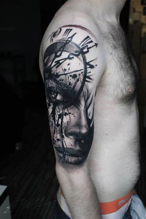 pinterest tattoo realistic realistic portrait clock face pinterest sleeve