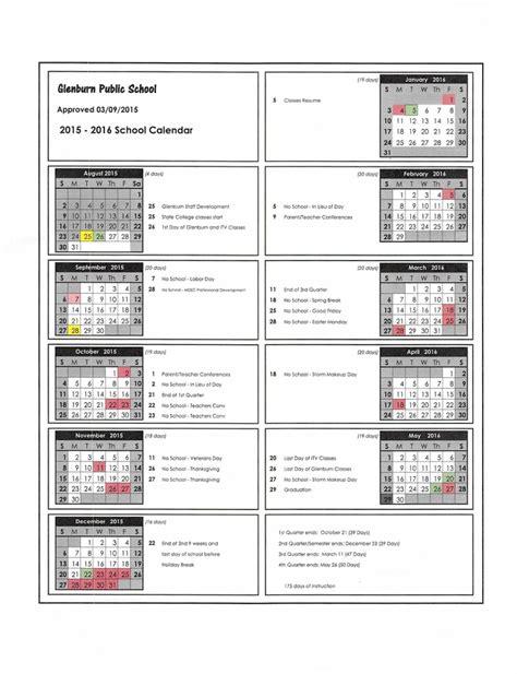 printable kelly schedule glenburn public school schedule