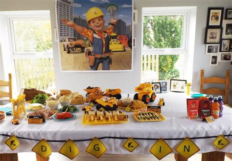 construction themed birthday party elis bob  builder  birthday