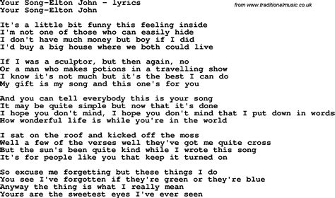 song lyrics in song lyrics for your song elton