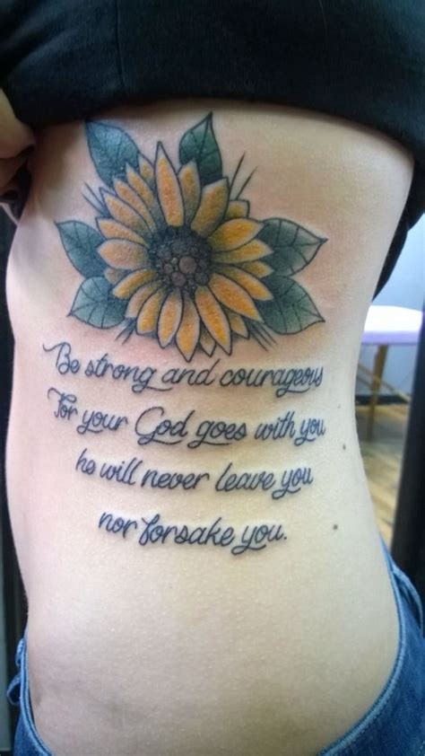 cute rib tattoos sunflower deuteronomy 31 6 rib