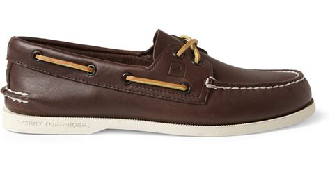sperry top sider leather boat shoes in brown for lyst