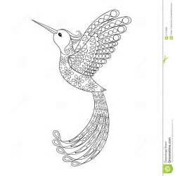 zentangle tribal hummingbird flying bird totem for