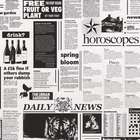 Kitchen Design With Black Appliances Statement Black Amp White Newspaper Wallpaper Departments