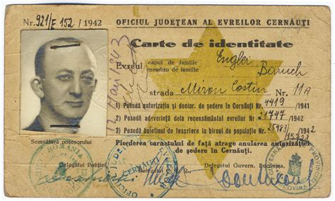 printable holocaust id cards romanian jewish identification card with a sted yellow
