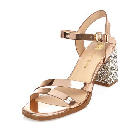 gold block heel sandals lyst river island gold glitter block heel sandals