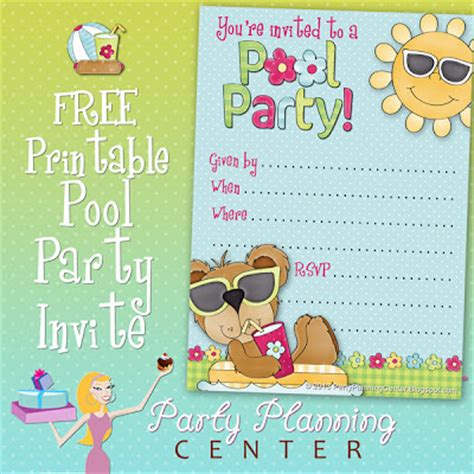 party planning center free pool party invite template