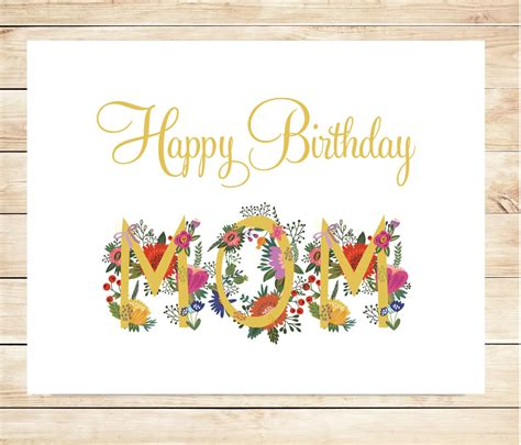 printable birthday cards for mom printable mom happy birthday card diy happy birthday card