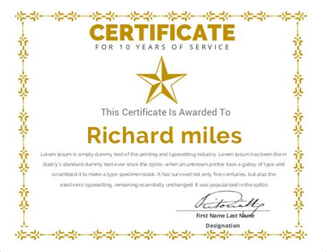 10 year service award certificate template printable certificate template 46 adobe illustrator