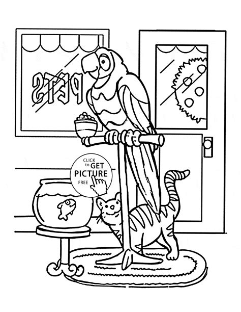 pet coloring pages parrot and cat pets coloring page for animal