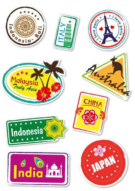 printable suitcase stickers world travel locations suitcase stickers set of 9