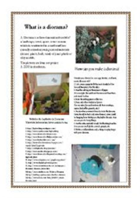 printable diorama instructions english worksheets make a diorama